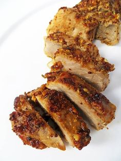 A juicy honey-roast garlic pork fillet with a super tasty honey, mustard and garlic marinade! pretty good, maybe less oil Pork Filet Recipes, Pork Tenderloin Recipes, Meat Recipes, Cooking Recipes, Recipes With Pork Fillet, Cooking Rice, Savoury Recipes, Yummy Recipes, Recipies