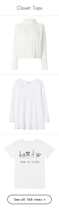"""""""Closet: Tops"""" by carolsposito ❤ liked on Polyvore featuring tops, sweaters, camisolas, crop top, t-shirts, white cable sweater, cable sweater, cropped sweater, chunky cable sweater and cable-knit sweater"""
