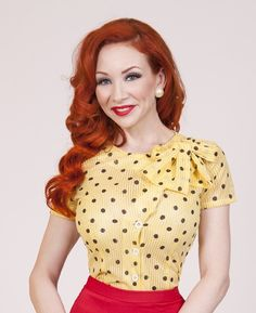 Gala Blouse Yellow | Bettie Page Clothing
