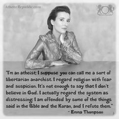 """I regard religion with fear and suspicion. It's not enough to say that I don't believe in God. I actually regard the system as distressing: I am offended by some things in the bible and the Koran, and I refute them. Secular Humanism, Atheist Quotes, Athiest, Anti Religion, Step Kids, Question Everything, Believe In God, Critical Thinking, Thought Provoking"