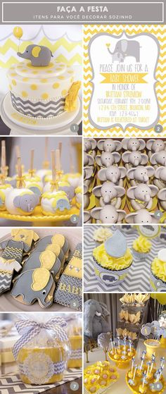 28 New Ideas for baby shower girl elephant theme gender neutral - Babydusche Baby Shower Cupcakes Neutral, Idee Baby Shower, Baby Shower Themes Neutral, Baby Shower Yellow, Baby Shower Cakes, Baby Boy Shower, Baby Shower Gifts, Themes For Baby Showers, Elephant Theme