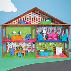 Cardboard dollhouse & furniture