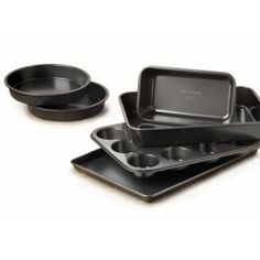 Nonstick Complete Bakeware Set w Cookie Sheet,Cake Pan Loaf and Muffin Pan from Vick's Great Deals. Round Cake Pans, Round Cakes, Tupperware, Toffee, Sheet Cake Pan, Sheet Cakes, Cake Sizes, Baking Set, Baking Items