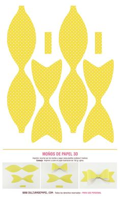 Lazo de papel. Amarillo. Paper Doll House, Paper Dolls, Fabric Flowers, Paper Flowers, Diy Arts And Crafts, Paper Crafts, Easter Templates, Bow Template, Bow Pattern