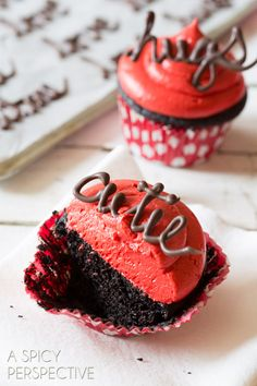 Perfect Dark Chocolate Cupcake Recipe with Red Velvet Frosting