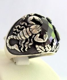 925 Sterling Silver Men's Ring With Scorpion by lunasilvershop, $69.90