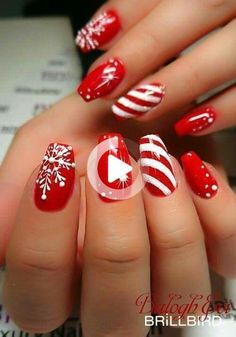 Tired of spending your time with your nails? Do you want most beautiful nail styles? The easiest and most practical nail styles for your nails here. colorful nails, nail styles, models of nail. Xmas Nail Art, Cute Christmas Nails, Holiday Nail Art, Xmas Nails, Christmas Nail Art Designs, Winter Nail Art, Cool Nail Art, Red Nails, Winter Nails