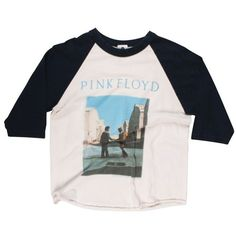 VINTAGE PINK FLOYD BASEBALL TEE (€105) ❤ liked on Polyvore featuring tops, t-shirts, shirts, long sleeves, vintage baseball t shirts, long sleeve tees, pink shirts, baseball t shirts and baseball tee