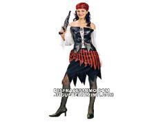 DisfracesMimo, disfraz de mujer pirata adulto para fiestas piratas en el que incluye Camisa,falda y pañuelo para la cabeza.