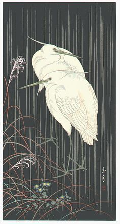 """""""Two Egrets in Rainy Night"""" by Keinen IMAO, Japan, 1930s"""