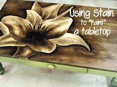 Stain painted tabletop using a gradient shading tehcnique