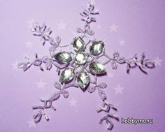 Snowflake of glass beads