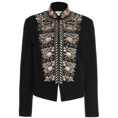 Vilshenko Freya Pompadour Embroidered Jacket (3.318.165 COP) ❤ liked on Polyvore featuring outerwear, jackets, cotton jacket, embroidery jackets, stand collar jacket, stand up collar jacket and embroidered jacket