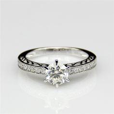 LASAMERO Round 0.8ct Lab Grown Diamond Antique Filigree Style Accent 9k White Gold Engagement Ring  Moissanites Ring