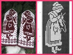 Mittens with girls knitting Knitted Mittens Pattern, Knit Mittens, Knitting Socks, Hand Knitting, Knitting Charts, Knitting Stitches, Knitting Patterns, Crochet Patterns, Crochet Motifs
