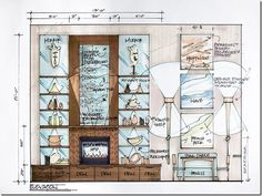 Candice Olson floor elevation / architectural spec for the custom water feature / fireplace.