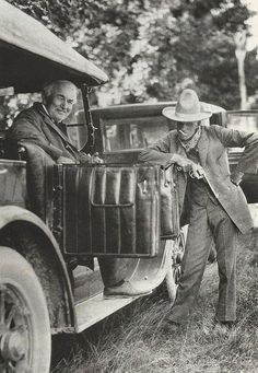 Henry Ford, dressed as a cowboy, with Thomas Edison, 1923.