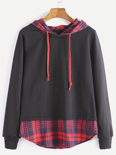 Fashion 2017 Autumn Women Casual Hoodies Long Sleeve Plaid Patchwork Fake Two Pieces Hooded New Femme Loose Sweatshirts Pullover Girl Outfits, Casual Outfits, Fashion Outfits, Pullover Pink, Trendy Hoodies, Mein Style, Mode Hijab, Kawaii Clothes, Long Hoodie