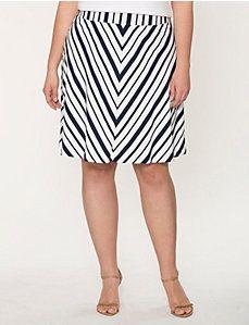Striped charmeuse flippy skirt