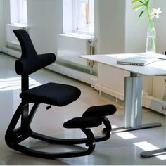 Varier Ergonomic Adjustable Kneeling Chair with Beech Wood Frame Ergonomic Kneeling Chair, Ergonomic Chair, Cool Chairs, Side Chairs, Dining Chairs, Game Room Chairs, Gliding Chair, Chair Leg Floor Protectors, Chairs For Rent