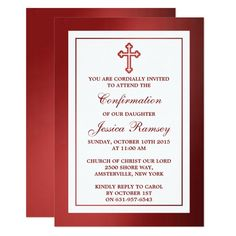 Metallic Red Cross Holy Communion Or Confirmation Invitation #religious #celebration #invitations #first #holy #Invitation