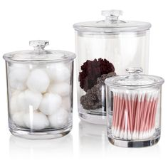 $24.99 Can you think of 101 ways to use these crystal clear, thick plastic apothecary jars? We can! These three jars are 60 ounces, 30 ounces and 15 ounces and can be used to store cotton balls, seashells, flower, candy, small dried pasta, dried beans, grains, cookies, candy, fruit, hair ties, ponytail holders, cosmetics, makeup, cotton swabs and more.