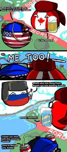 Countryballs Time to liberate Canada Canada Memes, Funny Cute, Hilarious, Funny Images, Funny Pictures, History Memes, Pokemon, Country Art, Fun Comics