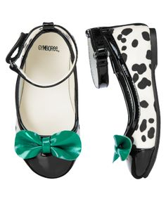 So chic in Dalmatian spots. Fashionable flats are finished with patent bow and ankle straps.