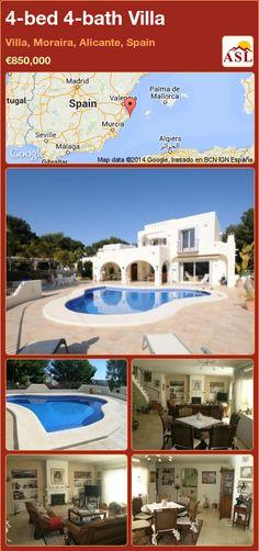 4-bed 4-bath Villa in Villa, Moraira, Alicante, Spain ►€850,000 #PropertyForSaleInSpain