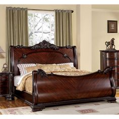 Traditionally styled bedrooms require a sense of grandeur, and the Bellefonte Sleigh Bedroom Collection by Furniture of America meets the requirement fully. The sleigh bed has carved headboard and footboard. Queen Bedroom, Bedroom Sets, Couple Bedroom, Master Bedroom, King Beds, Queen Beds, Sleigh Beds, Bedroom Night Stands, Upholstered Platform Bed