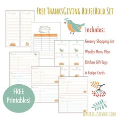 FREE Thanksgiving Household Printables Set: Grocery Shopping List, Menu Planner, Recipe Cards + More!
