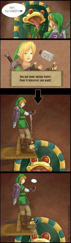 Thirsty Frog in The Legend of Zelda: Skyward Sword Zelda Skyward, Skyward Sword, Art Jokes, Evil Villains, Wind Waker, Twilight Princess, Breath Of The Wild, Legend Of Zelda, Best Games