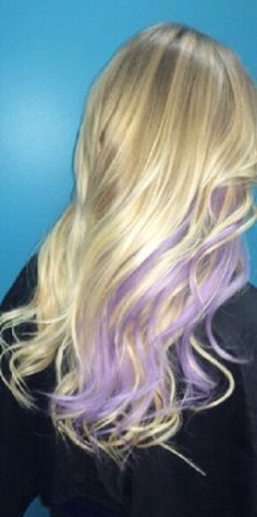 Image result for purple highlights in blonde hair