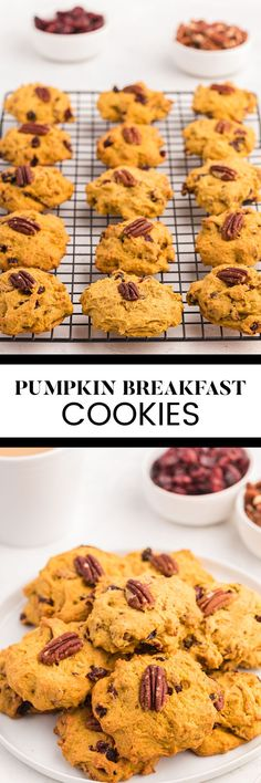 Pumpkin Breakfast Cookies - Soft, chewy and packed full of pecans, dried cranberries and pumpkin, these breakfast cookies are worth waking up for! Pumpkin Breakfast Cookies, Breakfast Cookie Recipe, Pumpkin Dessert, Dried Cranberries, Dessert Recipes, Desserts, Pumpkin Puree, Cookies Soft, Vegetarian