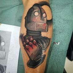 Iron giant tattoo  Personally one of my favorite childhood movies!! I love this tattoo! :')