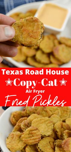 Air Fryer Fried Pickles Texas Road House Copy Cat Air Fryer Fried Pickles are one of my favorites! This is a Texas Road House Copycat Fried Pickle recipe. To make it even better it is made right in the air Air Fryer Recipes Snacks, Air Fryer Recipes Breakfast, Air Frier Recipes, Air Fryer Dinner Recipes, Texas Roadhouse, Fried Pickles Recipe, Crockpot, Cooking Recipes, Healthy Recipes