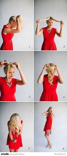 Saçınızı atkuyruğu yapın ve yaptığınız at kuyruğunu ortadan ikiye ayırıp maşa ile kıvırın sonra saçınızı tekrardan salın, işte 5 dakikada maşalı saçlar.