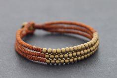 Rust Brown 3 Strand Beaded Bracelet by XtraVirgin on Etsy, $8.00