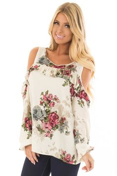 Cream Ruffle Cold Shoulder Top with Floral Print Detail - Lime Lush Boutique Floral Tops, Floral Prints, Cute Boutiques, Abaya Fashion, Cute Tops, New Woman, Boutique Clothing, Cold Shoulder, Cream