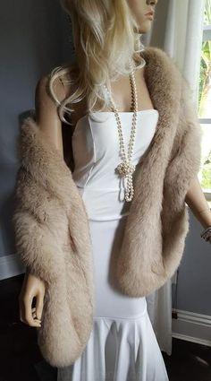 Luxury Vintage FOX Pelliccia Stola da Sposa Wrap Scialle - Real Stola di Pelliccia - Matrimonio d'Inverno Pelliccia Fling - Sciarpa - Sposa - norvegese Fox - Gatsby