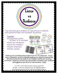 Linear vs Nonlinear activities: card sort & poster Great activities for math centers or as a group!