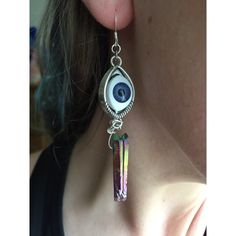 Blue Evil Eyes Rainbow Crystal Earrings  Handmade by me ☺️ lovely pair of blue eyeball and rainbow titanium crystal earrings. These babies are sure to turn heads but also protect your aura wherever you go perfect for everyday wear and festivals! ear wire is sterling silver. Ask me about custom orders-I have another pair of these made with blue eyeballs but I love to do customs so Lmk if you need gear for any upcoming festivals bundles are always encouraged. Not tagged brand, just thought…