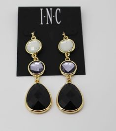 INC International Concepts Gold-Tone Black and White Stone Triple Drop Earrings  #IncInternationalConcepts #DropDangle