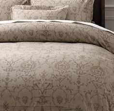 Italian Vintage Trellis Print  Duvet Cover in Dune from Restoration Hardware. Also available in Sable, Graphite and Azure.