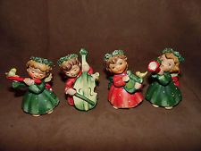 Lot of 4 Vintage LEFTON 1259 Musical Instrument Angel Figurines Yellow Bird CUTE