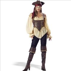 In Character Costumes - Rustic Pirate Lady - Elite Adult Collection Costume  - Click image twice for more info - See a larger selection womens  pirate costume at  http://costumeriver.com/product-category/womens-pirate-costume/ - womens, holiday costume , event costume , halloween costume, cosplay costume, classic costume, scary costume, pirate, classic costume, clothing