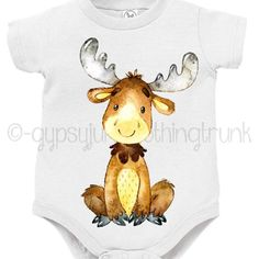 There's a moose on the loose! Custom printed baby outfits! http://etsy.me/2dYefTM #newbaby #etsyseller #etsy #etsyhunter #etsykids #woodlandnursery #bohobaby