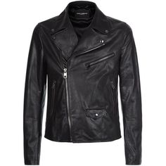 Dolce & Gabbana Classic Leather Biker Jacket ($3,770) ❤ liked on Polyvore featuring men's fashion, men's clothing, men's outerwear and men's jackets