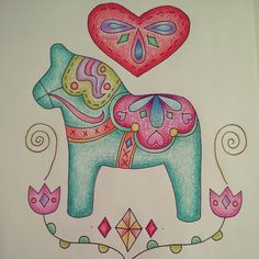 More doodling...Dala horse...#swedish #dala #horse #drawing #doodling #sketch #illustration # heart #scandinavian