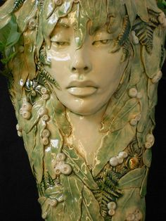"""green - woman - """"Wood Nymph"""" -  Leslie Ahrens - Stoneware  - sculpture"""